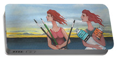 Long Neck Sisters Take A Painting Class At Longnook Beach Portable Battery Charger