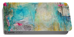 Portable Battery Charger featuring the painting Look How Far We've Come by Tracy Bonin