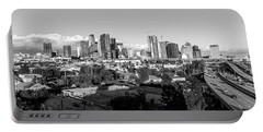 Los Angeles Skyline Looking East 2.9.19 - Black And White Portable Battery Charger