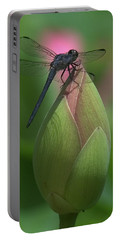 Lotus Bud And Slaty Skimmer Dragonfly Dl0006 Portable Battery Charger