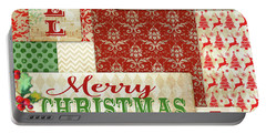 Lovely Patchwork Christmas Square Portable Battery Charger