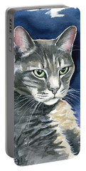 Lucky Gray Cat Painting Portable Battery Charger