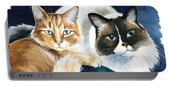 Luna And Leo Cat Painting Portable Battery Charger