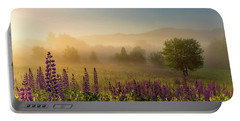Lupine In The Fog, Sugar Hill, Nh Portable Battery Charger