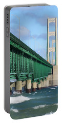 Mackinac Bridge And Waves Portable Battery Charger