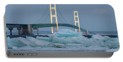 Mackinac Bridge In Ice 2161809 Portable Battery Charger
