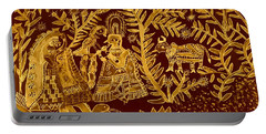 Madhubani Art In Golden Portable Battery Charger