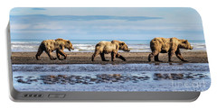 Mama Bear And Her Two Cubs On The Beach. Portable Battery Charger