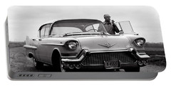 Man Smoking Pipe By 1958 Cadillac Portable Battery Charger