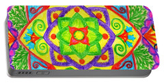 Portable Battery Charger featuring the drawing Mandala 1 by Dobrotsvet Art