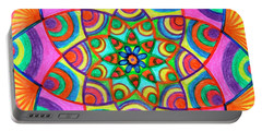 Portable Battery Charger featuring the drawing Mandala 3 by Dobrotsvet Art