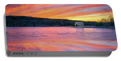 March Sunset At The Old Stone Church Portable Battery Charger