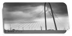 Margaret Hunt Hill Bridge In Black And White - Large Marge - Dallas Texas Portable Battery Charger