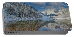 Portable Battery Charger featuring the photograph Maroon Bells Reflection In The Maroon Lake With Fresh Snow Aspen Colorado Usa. by OLena Art Brand