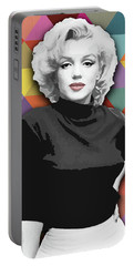 Portable Battery Charger featuring the painting Marylin Monroe Diamonds by Carla Bank