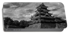Matsumoto Castle Japan Black And White Portable Battery Charger