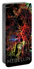 Medellin Colombia Watercolor City Street Map Dark Mode Portable Battery Charger