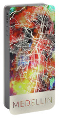 Medellin Colombia Watercolor City Street Map Portable Battery Charger