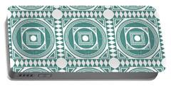 Mediterranean Pattern 4 - Tile Pattern Designs - Geometric - Teal - Ceramic Tile - Surface Pattern Portable Battery Charger