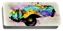 Mg Vintage Car Colorful Watercolor Portable Battery Charger