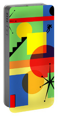 Portable Battery Charger featuring the digital art Mid Century Modern Abstract Over The Edge 20190106 by Wingsdomain Art and Photography