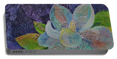 Portable Battery Charger featuring the painting Midnight Magnolia II by Shadia Derbyshire