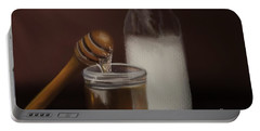 Portable Battery Charger featuring the painting Milk And Honey  by Fe Jones