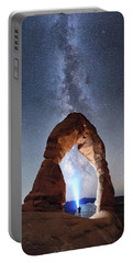 Portable Battery Charger featuring the photograph Milky Way Night Sky In Moab Arches National Park \ by OLena Art Brand