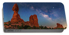 Milky Way Over Balanced Rock At Twilight Portable Battery Charger