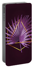 Minimal Tropical Palm Leaf - Palm And Gold - Gold Geometric - Modern Tropical Wall Art - Purple 2 Portable Battery Charger