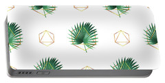 Minimal Tropical Palm Leaf - Palm And Gold - Gold Geometric Pattern 1 - Modern Tropical Wall Art Portable Battery Charger