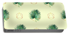 Minimal Tropical Palm Leaf - Palm And Gold - Gold Geometric Pattern 2 - Modern Tropical Wall Art Portable Battery Charger