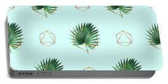 Minimal Tropical Palm Leaf - Palm And Gold - Gold Geometric Pattern 3 - Modern Tropical Wall Art Portable Battery Charger