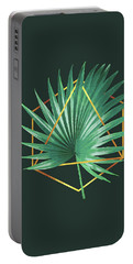 Minimal Tropical Palm Leaf - Palm And Gold - Gold Geometric Shape - Modern Tropical Wall Art - 2 Portable Battery Charger