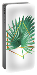 Minimal Tropical Palm Leaf - Palm And Gold - Gold Geometric Shape - Modern Tropical Wall Art - Green Portable Battery Charger