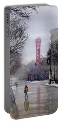 Misty Morning On Stae Street Portable Battery Charger