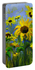 Misty Morning - Sunflower Field Oil Painting, Landscape Art Portable Battery Charger