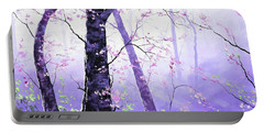 Misty Pink Trees Forest Portable Battery Charger