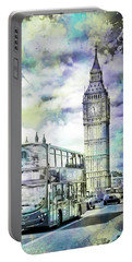 Portable Battery Charger featuring the photograph Modern Art London Street Scene by Melanie Viola