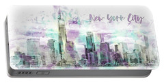 Portable Battery Charger featuring the digital art Modern Art Nyc Manhattan Skyline - Jazzy Watercolor  by Melanie Viola