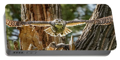 Momma Great Horned Owl Blasting Out Of The Nest Portable Battery Charger