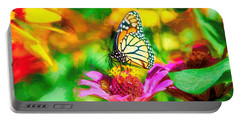 Monarch Butterfly Impasto Colorful Portable Battery Charger
