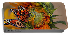 Monarchs And Sunflower Portable Battery Charger