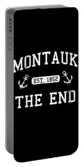 Portable Battery Charger featuring the digital art Montauk Established 1852 by Flippin Sweet Gear