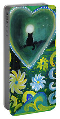 Portable Battery Charger featuring the painting Moon Cat Ornament by Dobrotsvet Art