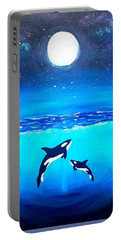 Moon Lit Orcas Portable Battery Charger