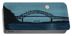 Moon Over The Bourne Bridge Portable Battery Charger