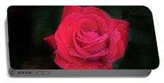 Morning Mist On Red Rose Portable Battery Charger