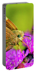 Moth On Purple Flower Portable Battery Charger