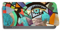 Portable Battery Charger featuring the painting Motley Eye 4 by Alisha Anglin